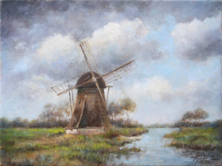 Windmill Landscape Oil Painting Fine Arts Gallery