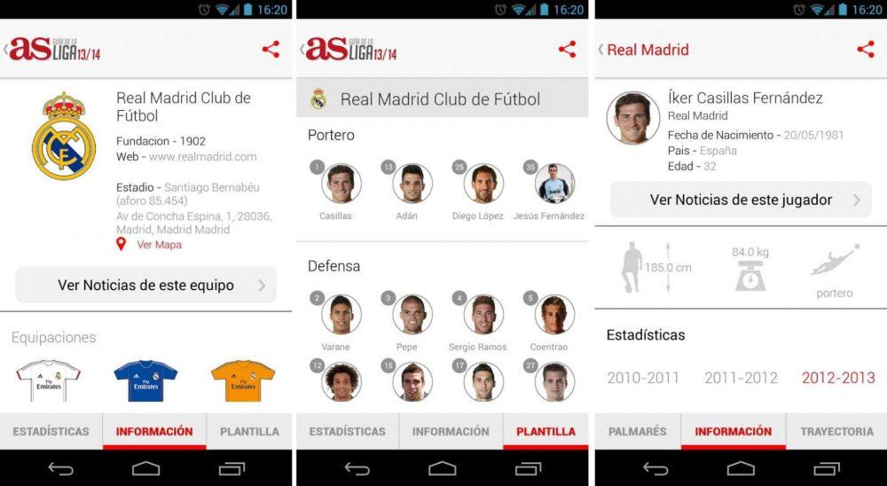 Aplicación Android de fútbol AS – Guía de la Liga