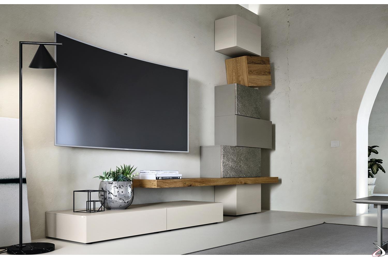 Parete attrezzata per soggiorno design moderno bianca laccato manhattan. Design Living Room In Wood And Stone With Urom Totems Toparredi