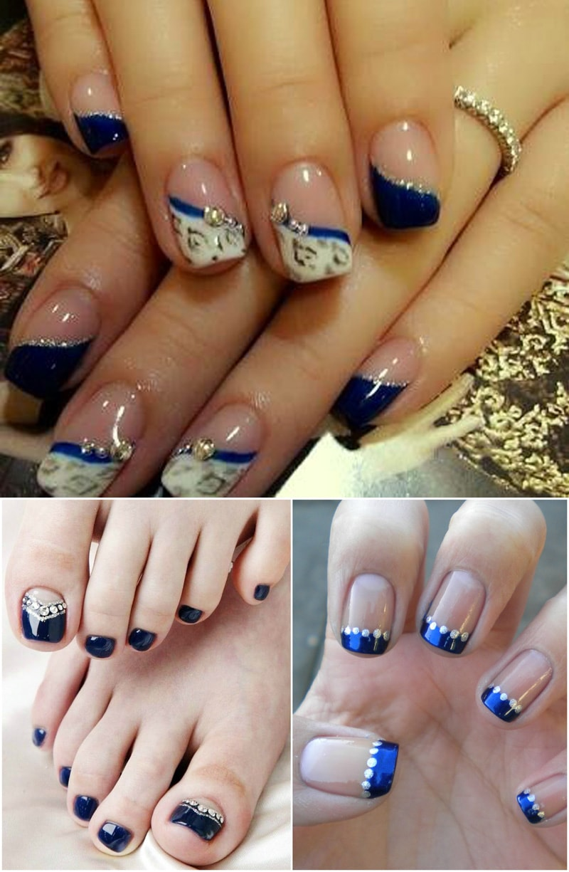 Blue And Bridal Nail Art For Weddings