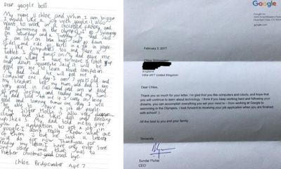 7 year old girl Chloe Bridgewater job application to Google boss gets response