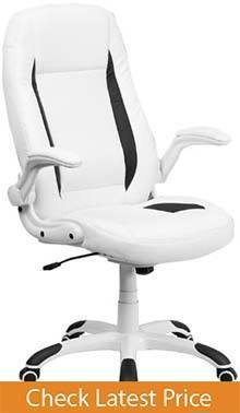 High Back White Leather Executive Swivel Chair