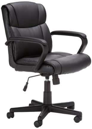 AmazonBasics Classic Leather-Padded Mid-Back Office Chair with Armrest
