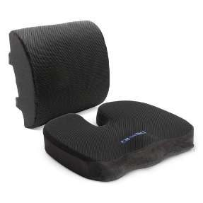 Plixio Memory Foam Seat Cushion and Lumbar Back Support Pillow
