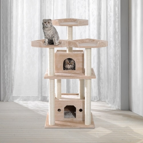 Best Cat Tree Under $100 - PawHut Multi-Level Sisal Scratcher Cat Tree