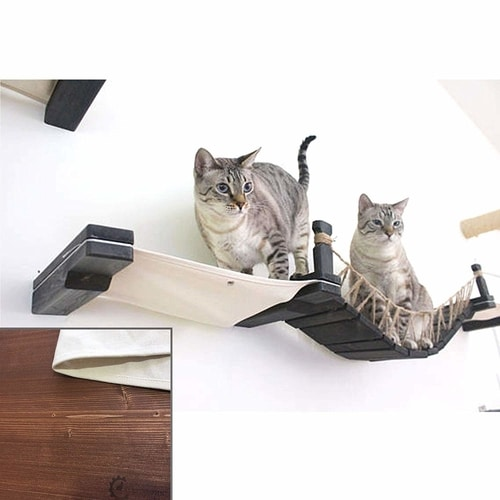 Best Cat Trees Above $200 - CatastrophiCreations Cat Mod Wall-Mounted Cat Bridge with Fabric Lounger