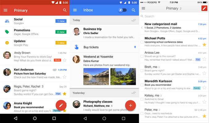 App Gmail e Inbox