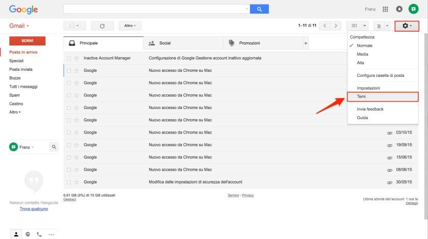 Come cambiare tema in Gmail