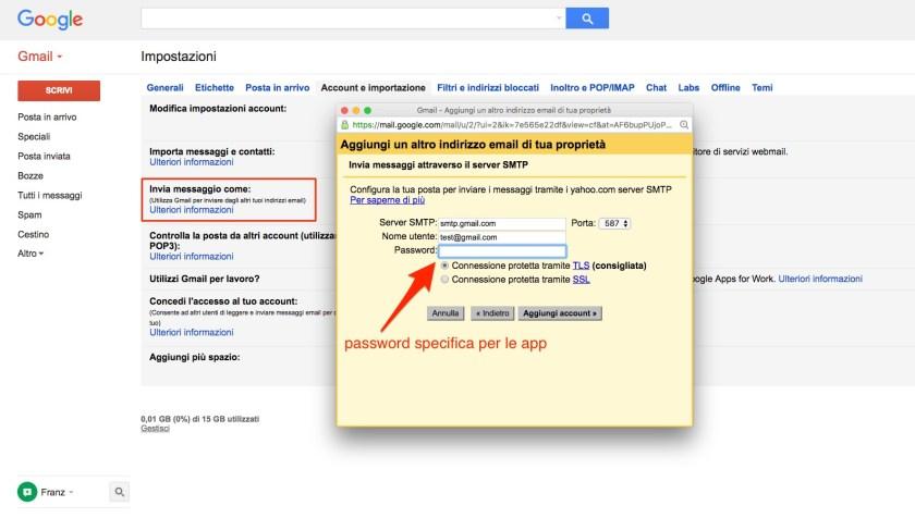 Gmail - Alias e password specifica