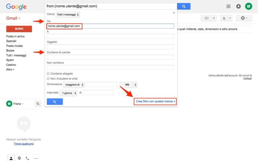 Creazione filtro in Gmail