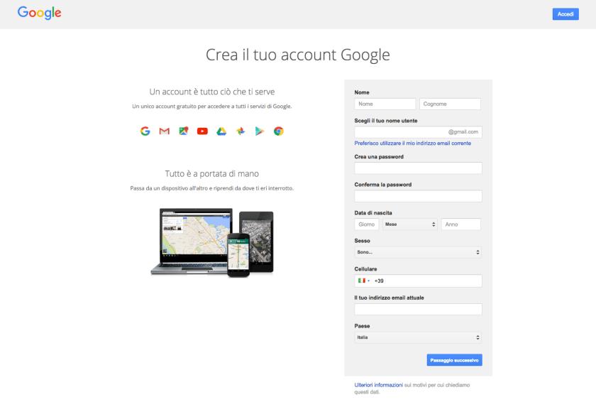 Pagina di registrazione Account Google
