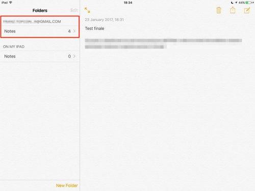 App Note di iOS - Sincronizzazione con Gmail