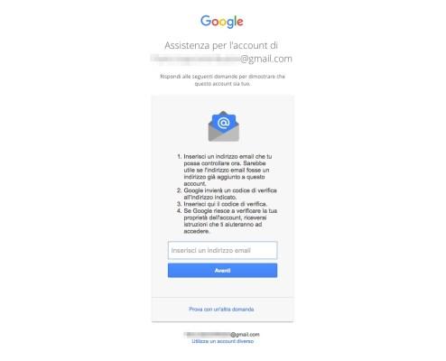 Recupero password Account Google - Email di contatto