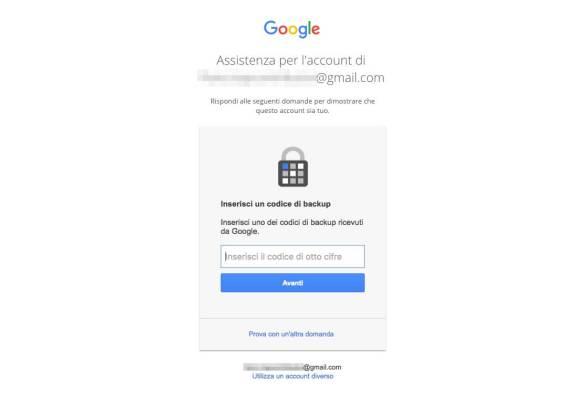 Recupero password Account Google - Codici di backup