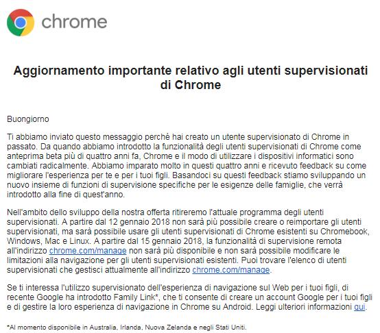Aggiornamento importante relativo agli utenti supervisionati di Chrome
