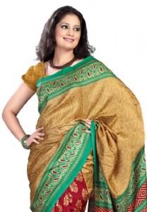 Fabdeal-Indian-Women-Sari-Printed-Gold-Red-0-0