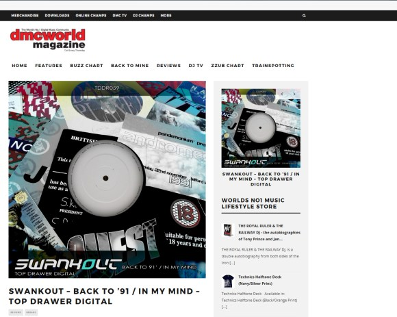 SwankOut – Back To'91 / In My Mind Review in DMC World Mag