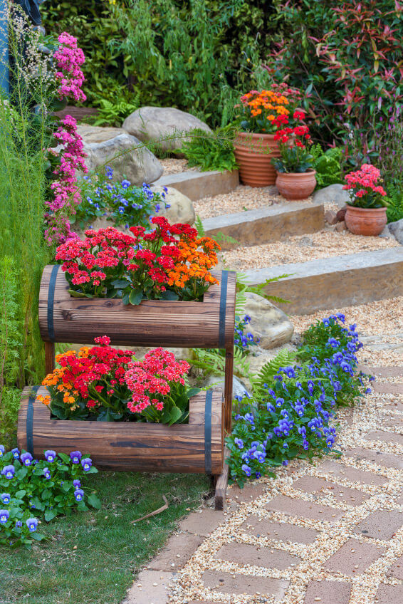 How To Decorate The Outdoor Steps With Flower Pots on Non Grass Backyard Ideas  id=70038