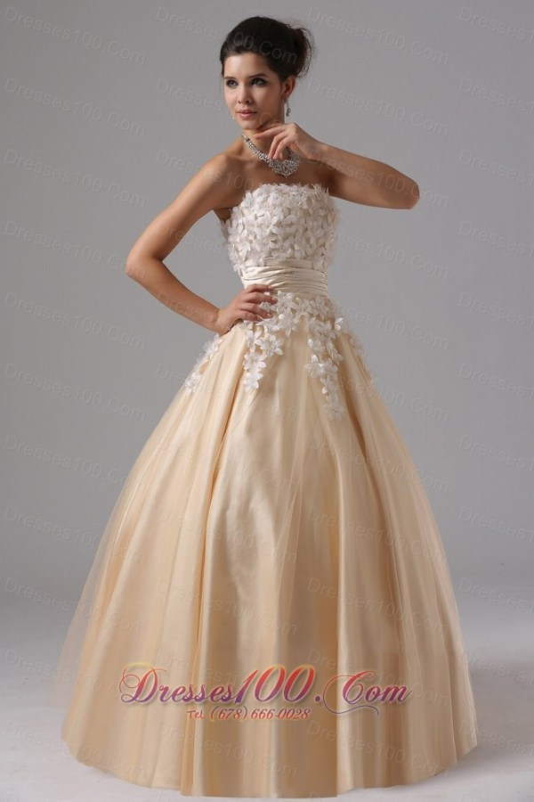 2013 Champagne and Appliques For 2013 Ball Gown Prom Dress ...