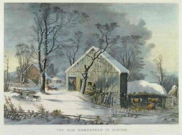 Christmas Back To Home Snowing Painting In Oil For Sale