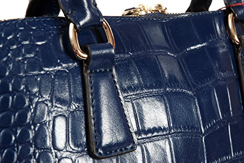 Navy Blue Leather Twin Handled Handbag With Croc Print By