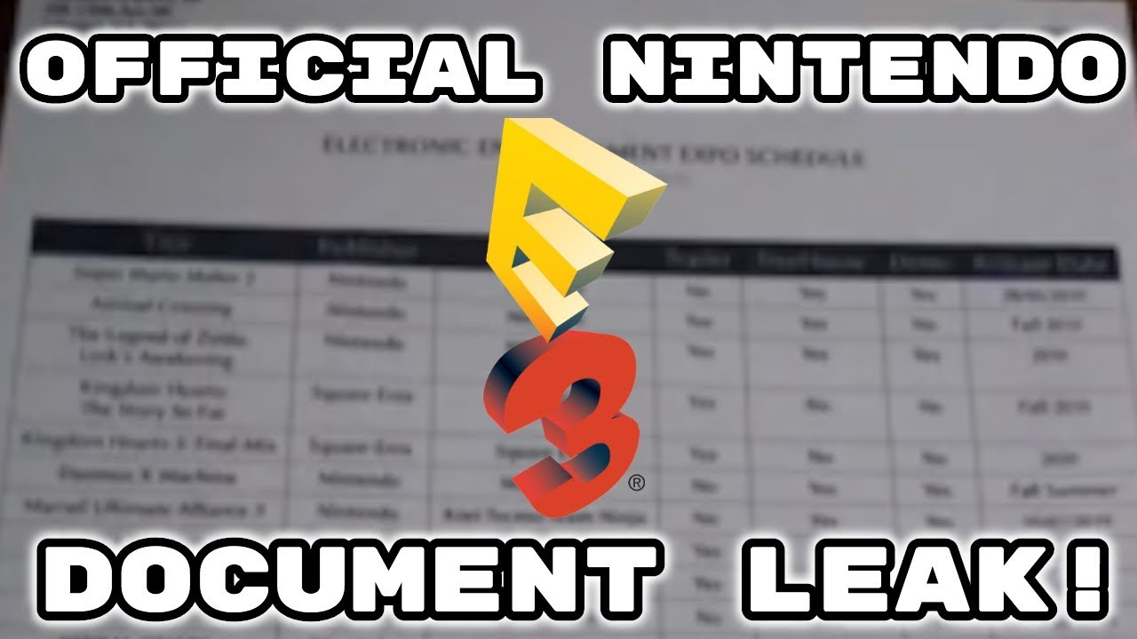 OFFICIAL NINTENDO E3 DOCUMENTS LEAKED?! ALL GAMES, RELEASE