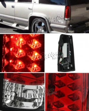 GMC Sierra 2500 19881998 Red and Clear LED Tail Lights