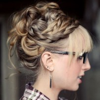13 Braided And Twisted Prom Updo With Straight Bangs