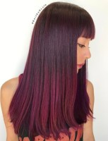 13 Long Burgundy Ombre Hair With Bangs