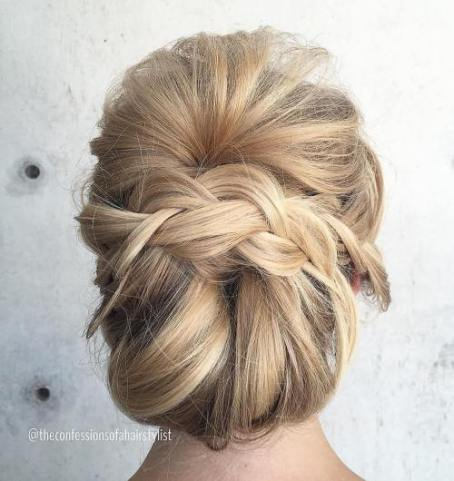 16 Messy Chignon With Braid
