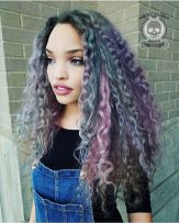 2 Gray And Pastel Purple Weave
