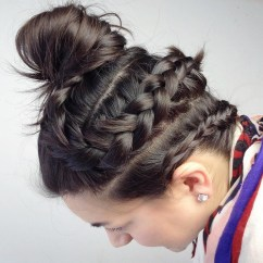 20 Two Braids And Top Knot Updo