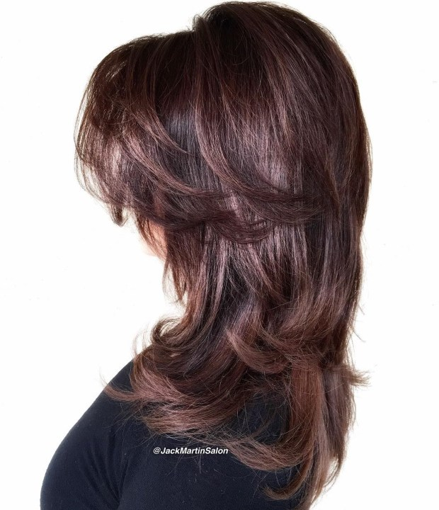 3 Long Chocolate Brown Style With Swoopy Layers