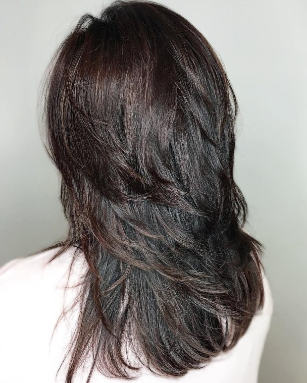 39 Shiny Black Haircut With Flicked Layers