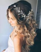6 Long Curly Half Updo For Brides