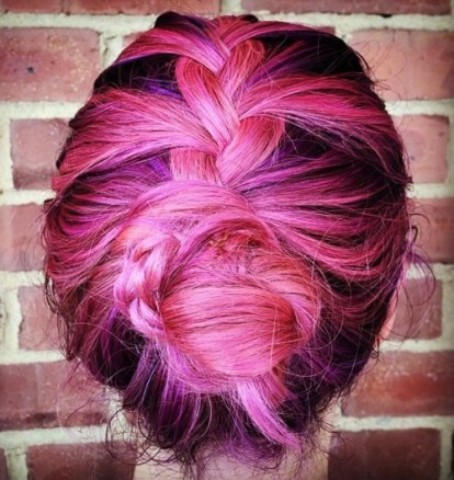 19 Braided Pink And Purple Updo