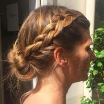 20 Side Braid And Low Bun Updo