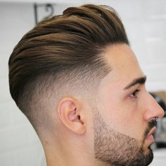 Brushed Back Hair Fade Beard