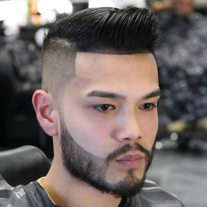 Comb Over Quiff High Bald Fade Cool Beard Design