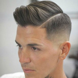 Hard Part Comb Over Low Bald Fade