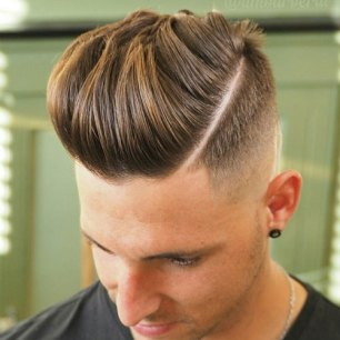 Hard Part Pompadour With High Fad