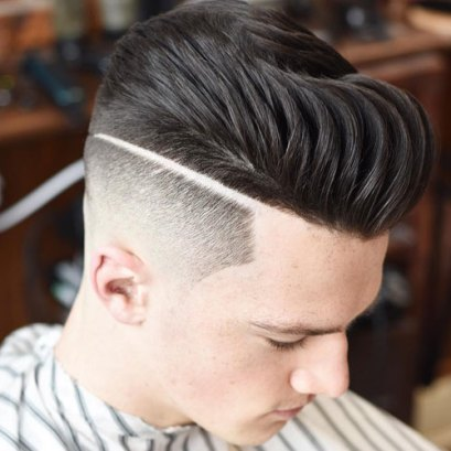 High Fade Part Textured Pompadour