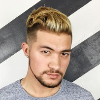 Long Textured Slick Back Undercut Short Beard