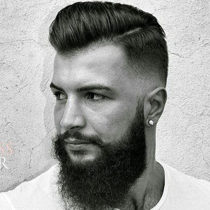 Mid Skin Fade With Pomp Comb Over And Beard