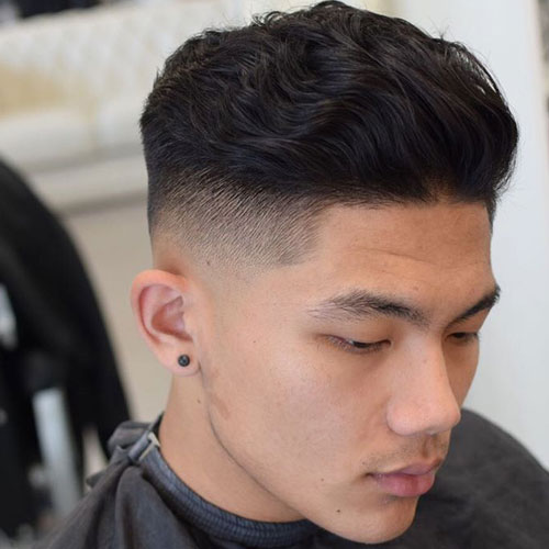 Thick Wavy Blow Back High Fade