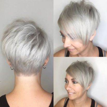 17 Silver Blonde Pixie With Bangs