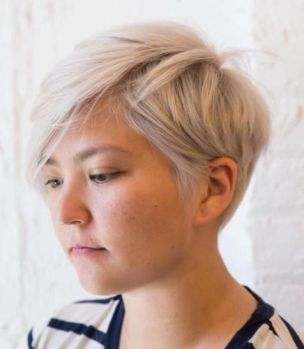 19 Ash Blonde Choppy Pixie For Round Face