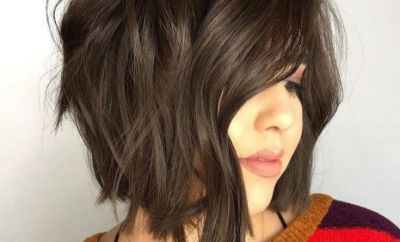 21 Choppy Angled Brunette Bob