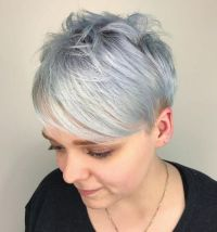 23 Choppy Silver Pixie With Bangs