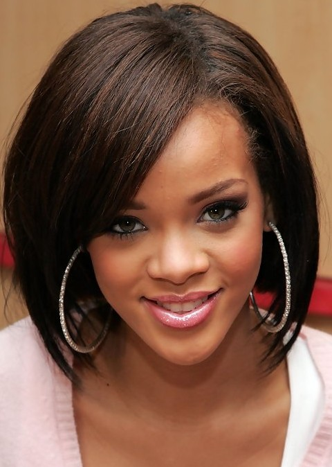 Rihanna Hairstyles Sophisticated Medium Straight Haircut